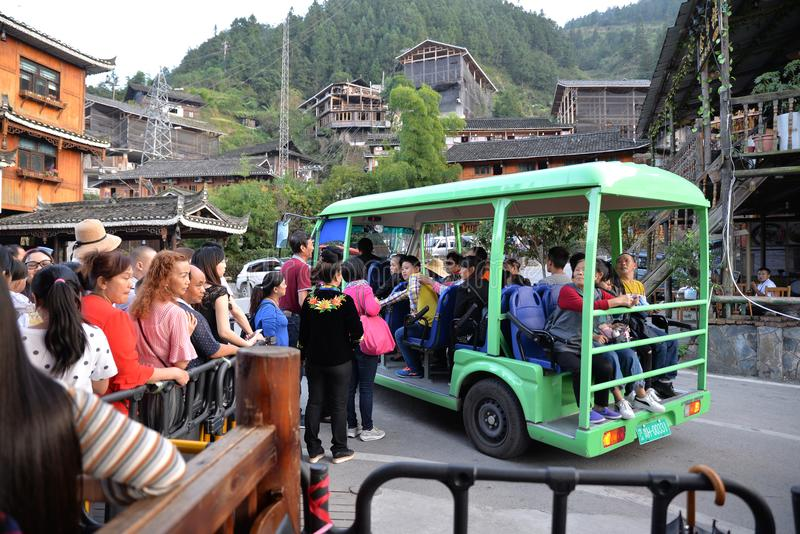 The National Day scenic spot of stream of people. The National Day guizhou Qianhu Miao Village scenic spot of stream of people.waiting for ferry car. Photo taken royalty free stock photo