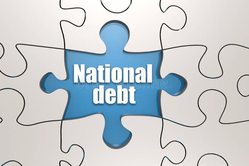 National debt word on jigsaw puzzle royalty free illustration