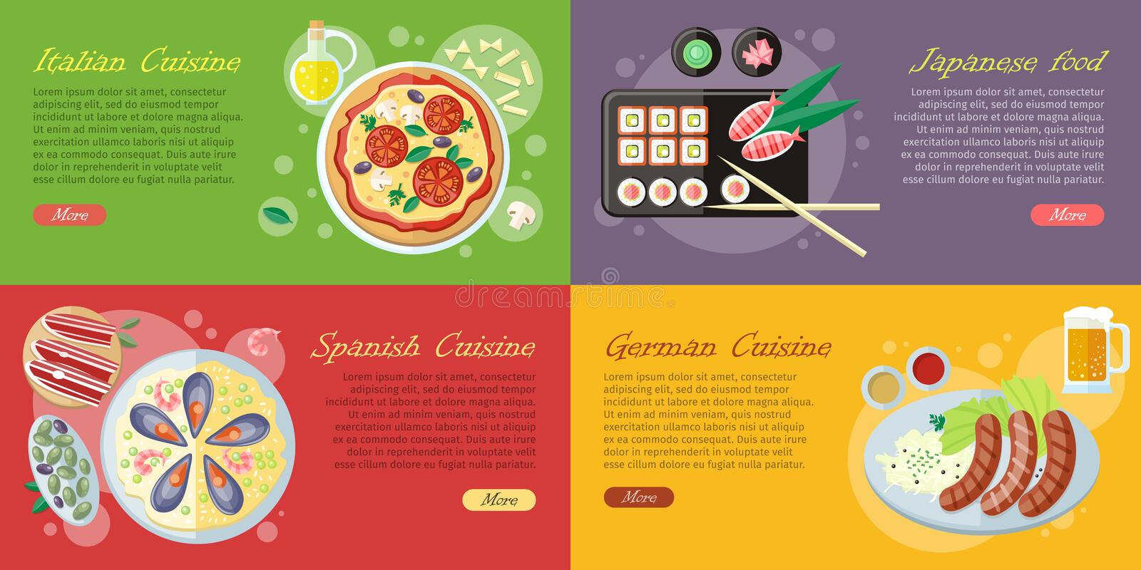 National Dishes and Drinks Web Banners. Vector stock illustration