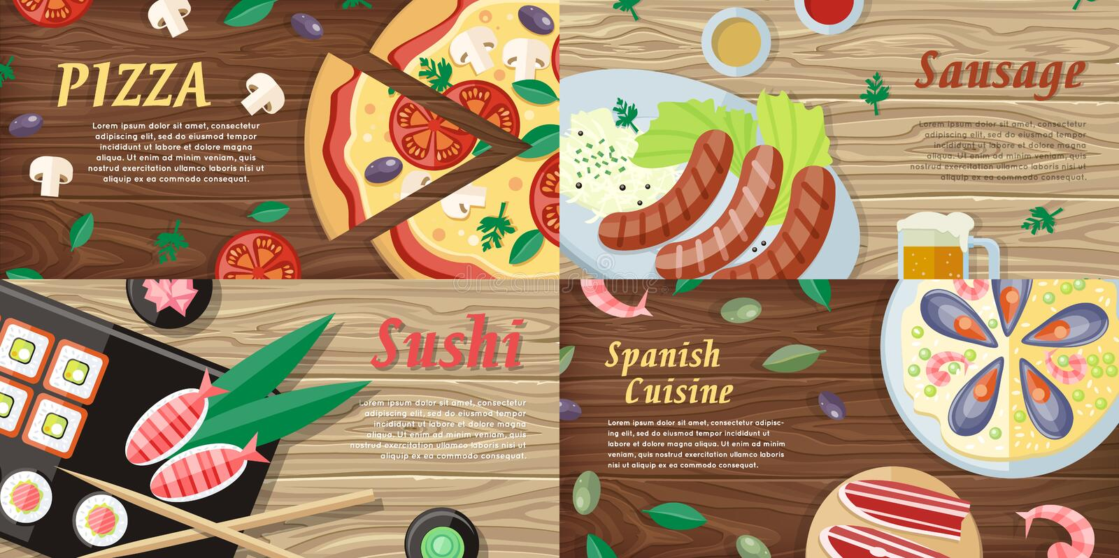 National Dishes and Drinks Web Banners. Vector vector illustration