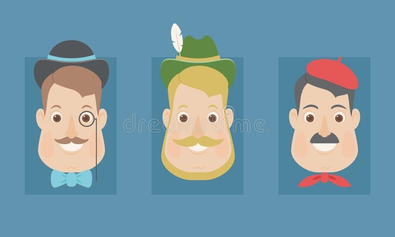 National diversity/stereotypes: English, German and French menNational diversity/stereotypes: English, German and French men stock illustration