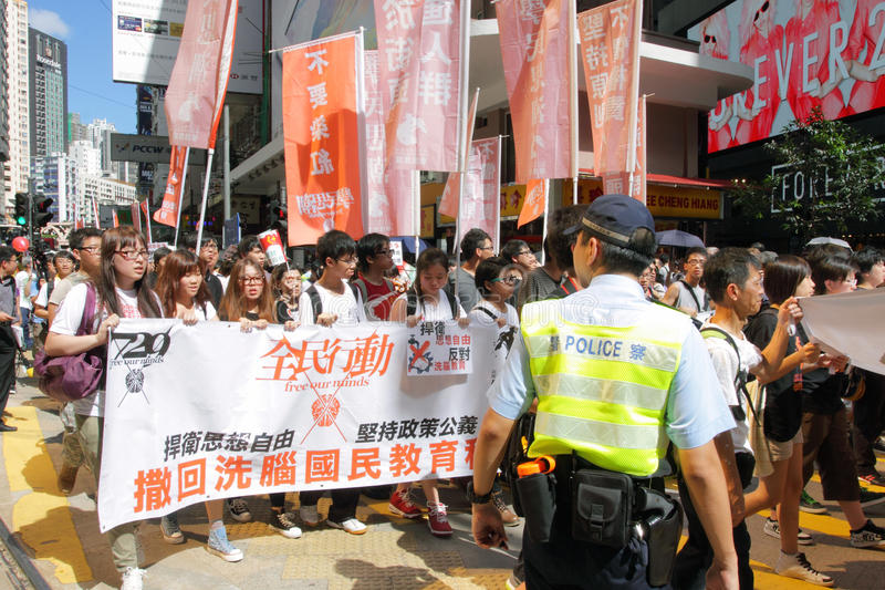 'National Education' Raises Furor in Hong Kong. Plans to adopt Chinese civic education into the Hong Kong public school curriculum have sparked protests among royalty free stock photo