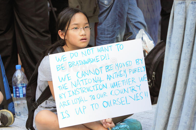 'National Education' Raises Furor in Hong Kong. Children say No for the National Education subject stock image