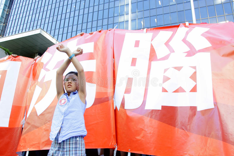 'National Education' Raises Furor in Hong Kong. Children say No for the National Education subject royalty free stock photo