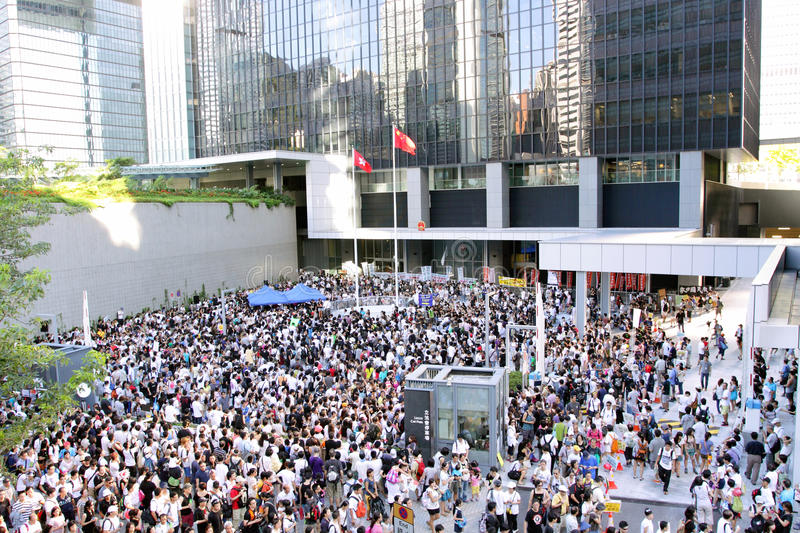 'National Education' Raises Furor in Hong Kong. Protesters arrived the Central Government Complex, Tamar (The Government of Hong Kong Special Administrative stock photo