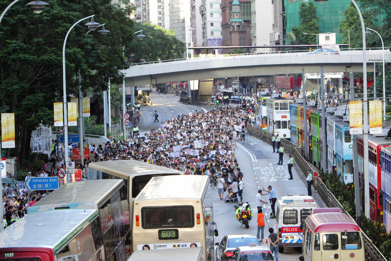 'National Education' Raises Furor in Hong Kong. Plans to adopt Chinese civic education into the Hong Kong public school curriculum have sparked protests among royalty free stock image