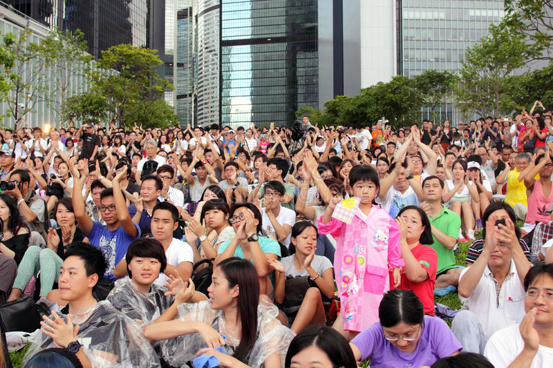 'National Education' Stirs Protests in Hong Kong. Parents, students and teachers were among those gathering outside the government's new headquarters on stock photos