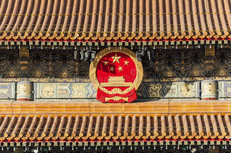 The National Emblem Of China On Tiananmen Tower Royalty Free Stock Images