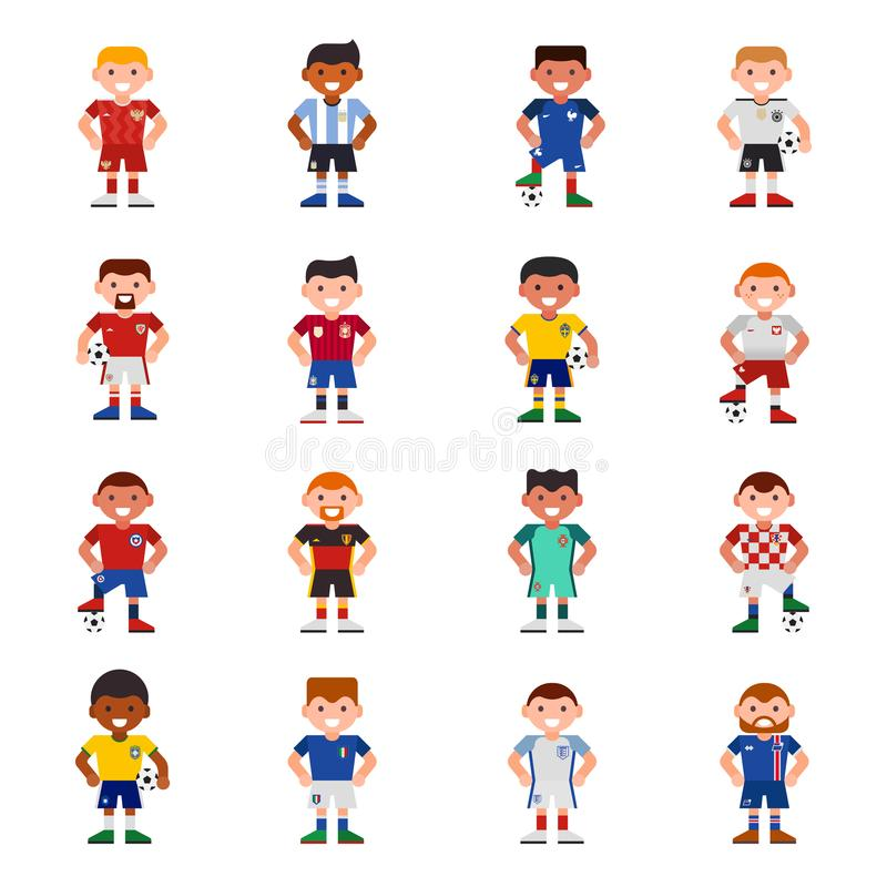 National Eurcup soccer football team players uniform vector illustration and world game captain leader sportsmen with. Soccerball characters. Active winner vector illustration