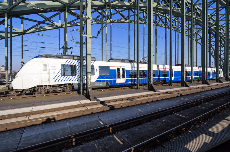National Express regional train at Hohenzollern Bridge stock images