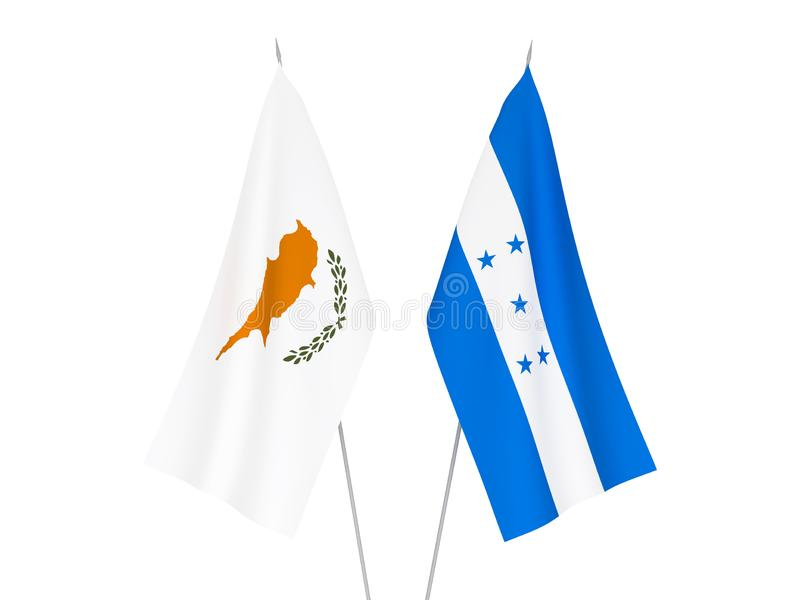 Honduras and Cyprus flags. National fabric flags of Honduras and Cyprus isolated on white background. 3d rendering illustration vector illustration