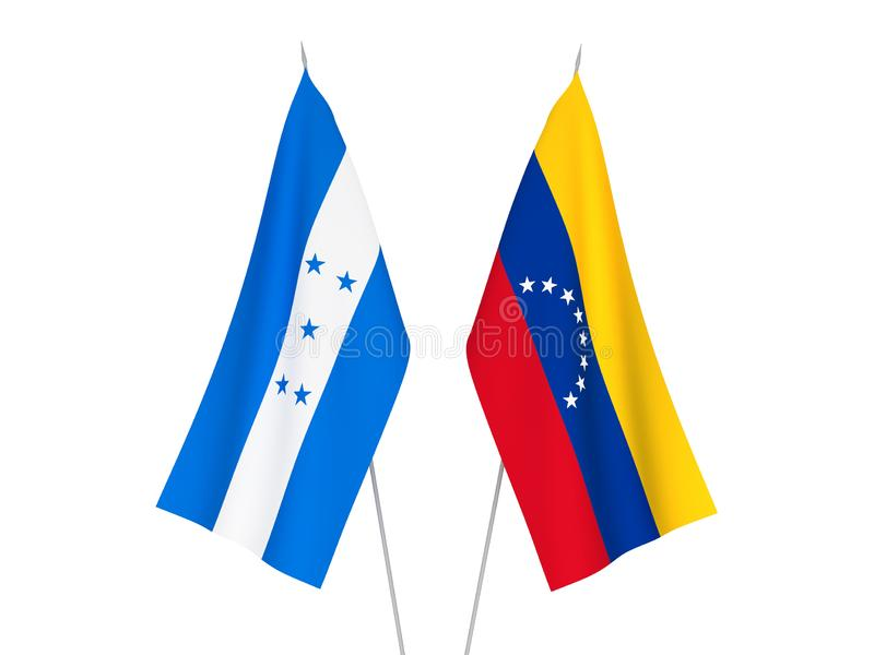 Honduras and Venezuela flags. National fabric flags of Honduras and Venezuela isolated on white background. 3d rendering illustration stock illustration