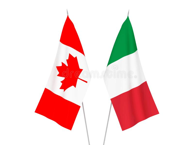 Italy and Canada flags vector illustration