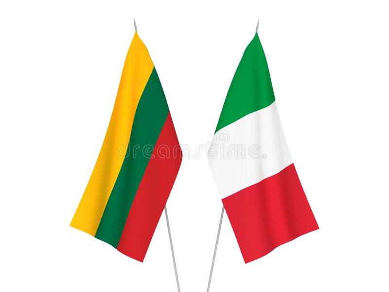 Italy and Lithuania flags stock illustration. Illustration of flagpole - 131465413
