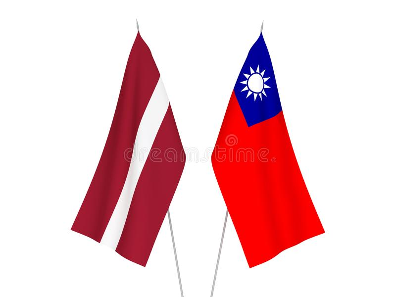 Latvia and Taiwan flags. National fabric flags of Latvia and Taiwan isolated on white background. 3d rendering illustration stock illustration