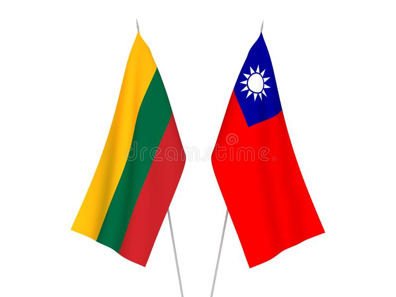 Lithuania and Taiwan flags. National fabric flags of Lithuania and Taiwan isolated on white background. 3d rendering illustration royalty free illustration