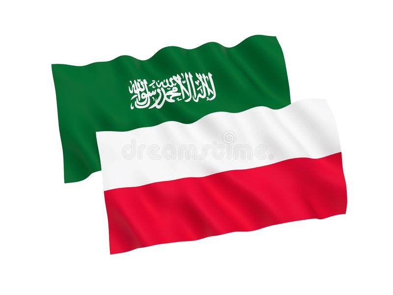 Flags of Poland and Saudi Arabia on a white background stock illustration
