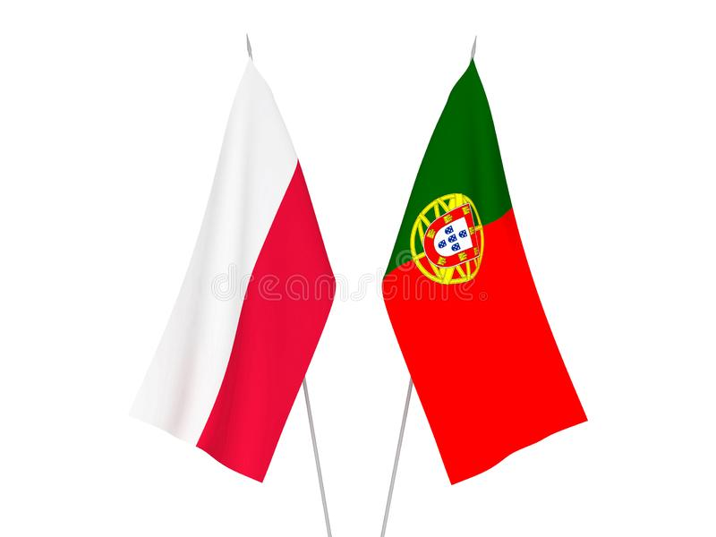 Portugal and Poland flags. National fabric flags of Portugal and Poland isolated on white background. 3d rendering illustration stock illustration