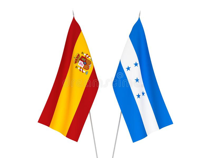 Spain and Honduras flags. National fabric flags of Spain and Honduras isolated on white background. 3d rendering illustration vector illustration