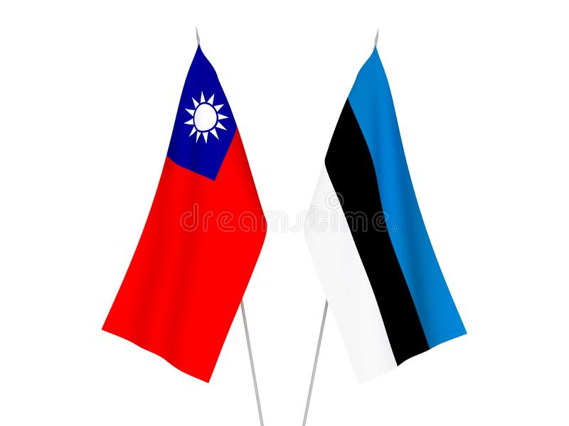 Taiwan and Estonia flags. National fabric flags of Taiwan and Estonia isolated on white background. 3d rendering illustration stock illustration