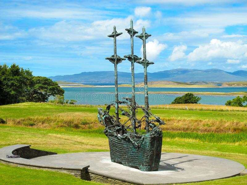 National Famine Monument, Westport in Co. Mayo stock photos