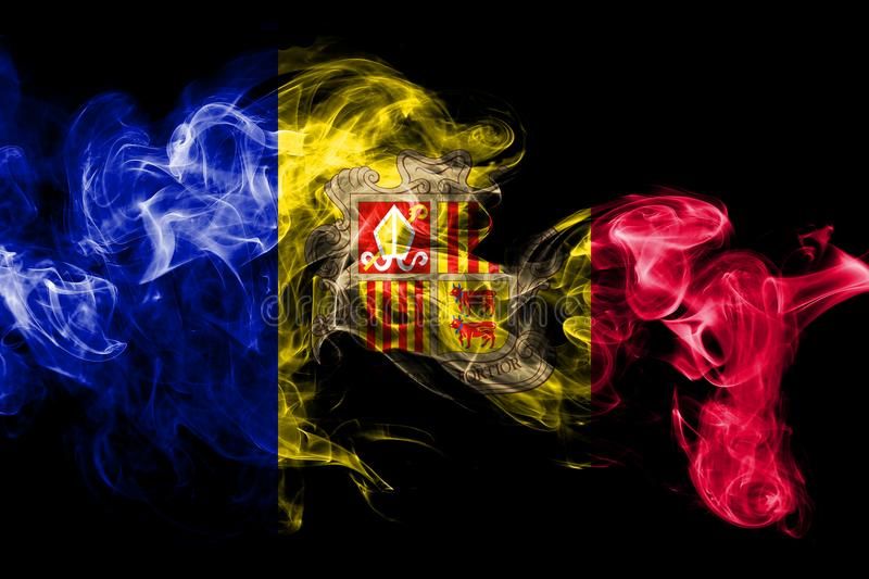 National flag of Andorra made from colored smoke isolated on black background. Abstract silky wave background. National flag of Andorra made from colored smoke royalty free illustration