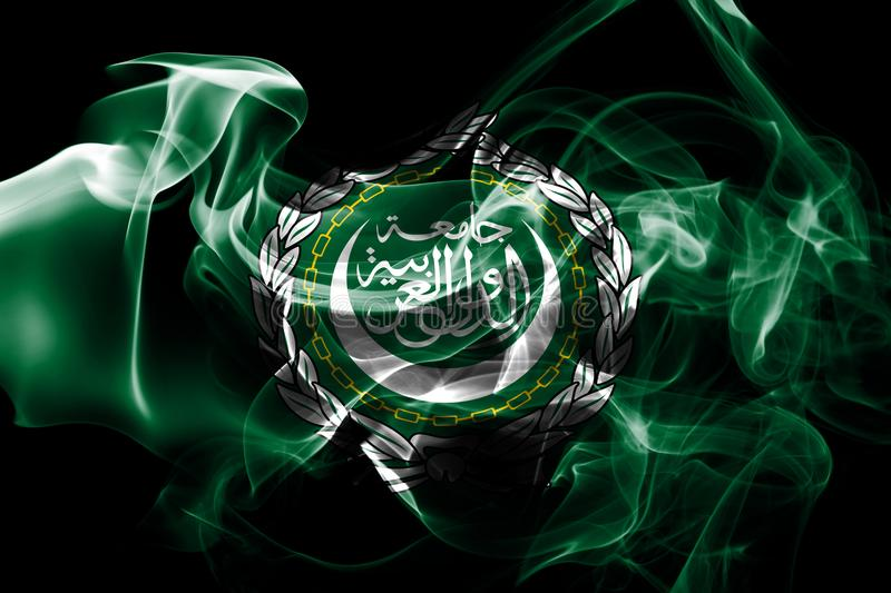 National flag of Arab League made from colored smoke isolated on black background stock images