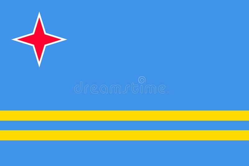 National flag of Aruba island in Caribbean sea. Patriotic country symbol with official colors. Flag of Caribbean dependent territory. Aruba flag vector royalty free illustration