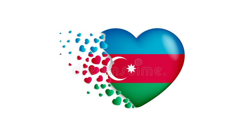 National flag of Azerbaijan in heart illustration. With love to Azerbaijan country. The national flag of Azerbaijan fly out small. Hearts on white background vector illustration