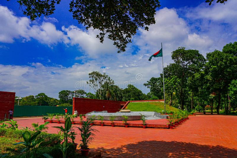 National Flag of Bangladesh. The flame is eternal, Freedom Square independent park Shabagh-Dhaka-Bangladesh stock photo