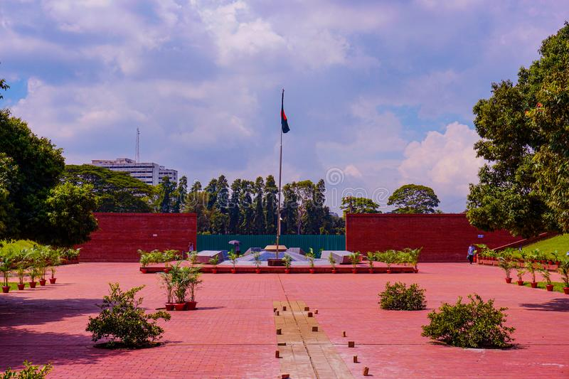 National Flag of Bangladesh. The flame is eternal, Freedom Square, Shabagh-Dhaka-Bangladesh royalty free stock image