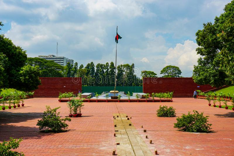 National Flag of Bangladesh. The flame is eternal, Freedom Square, Shabagh-Dhaka-Bangladesh royalty free stock images