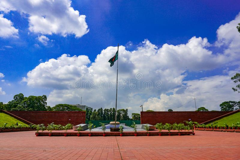 National Flag of Bangladesh. The flame is eternal, Freedom Square, Shabagh-Dhaka-Bangladesh royalty free stock photo