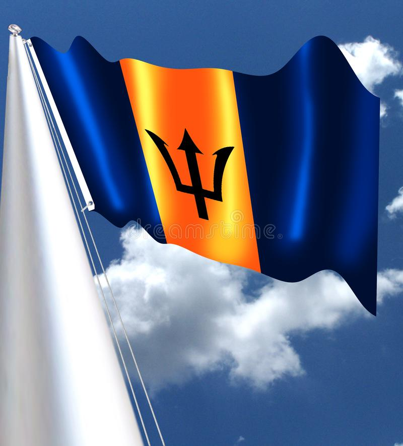 The national flag of Barbados is comprised of three equal vertical panels - the centre panel of gold and the outer panels of ultra. Marine. A broken trident in royalty free illustration