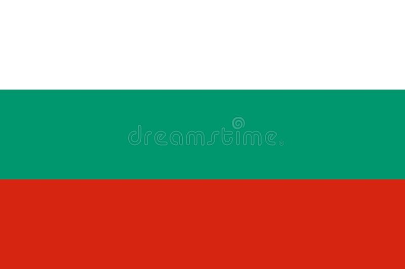 National flag of Bulgaria- horizontal tricolor of white, green and red. Bulgaria flag, official proportion correctly. royalty free illustration