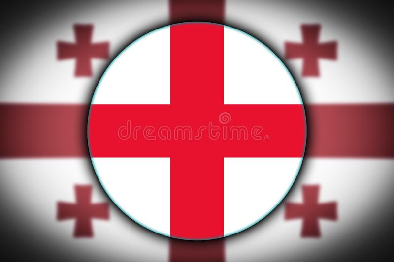 Flag in the shape of a circle. stock illustration
