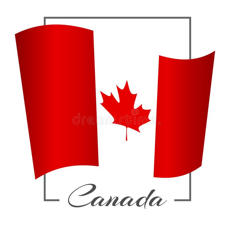 The national flag of Canada in a rectangular frame with the inscription Canada Background Vector vector illustration