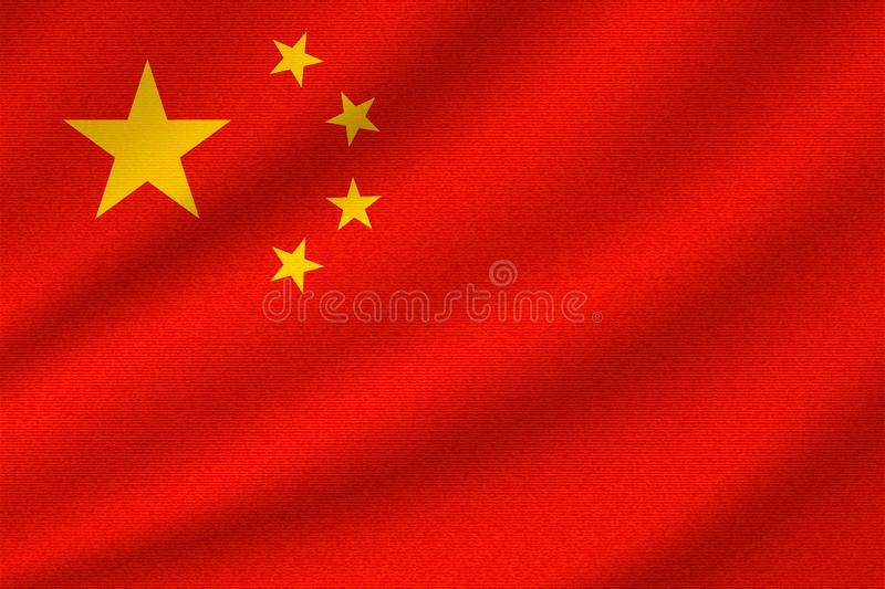 National flag of China. On wavy cotton fabric. Realistic vector illustration vector illustration