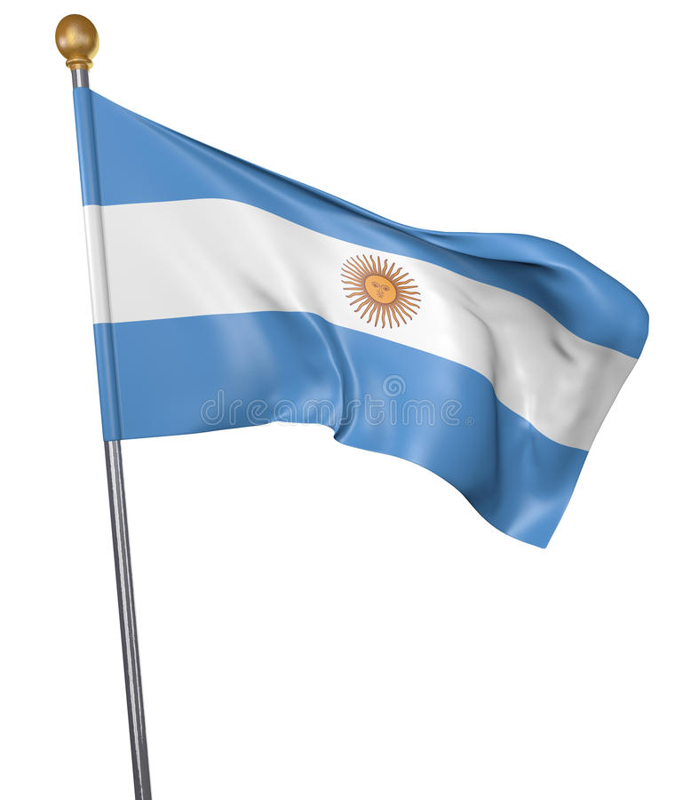 National flag for country of Argentina isolated on white background, 3D rendering stock illustration