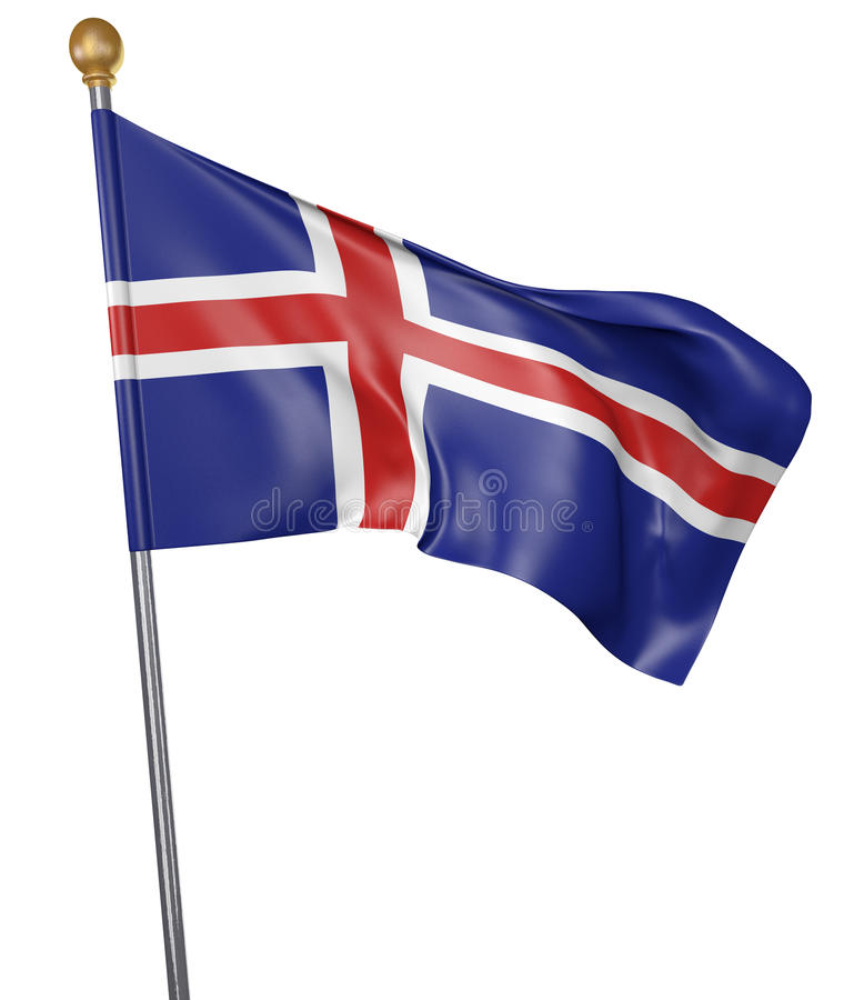 National flag for country of Iceland on white background stock illustration