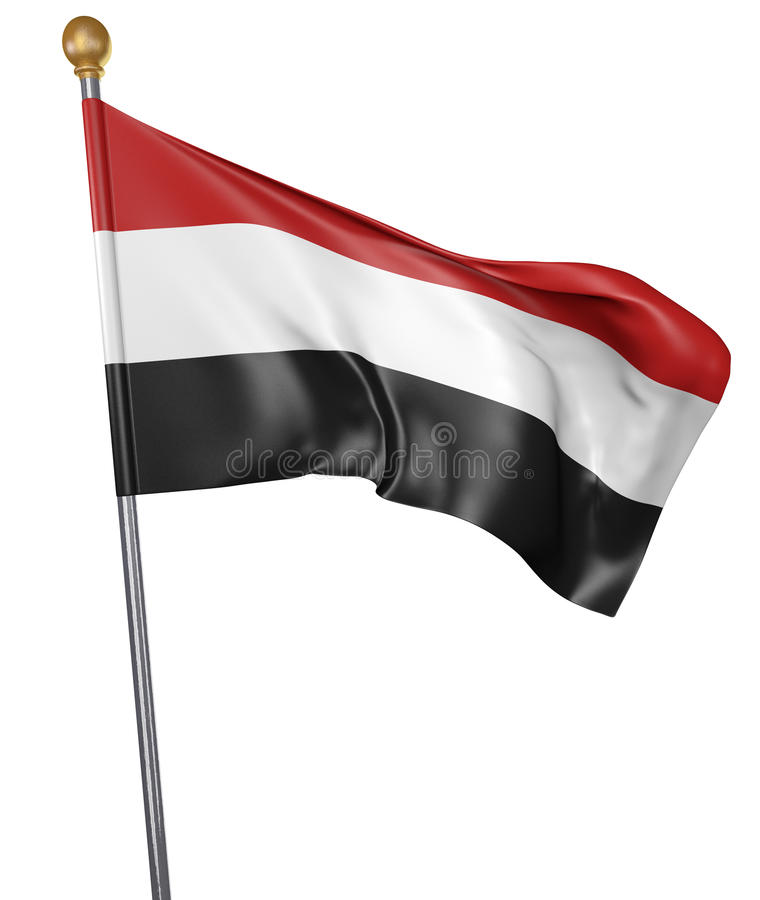 National flag for country of Yemen isolated on white background, 3D rendering vector illustration