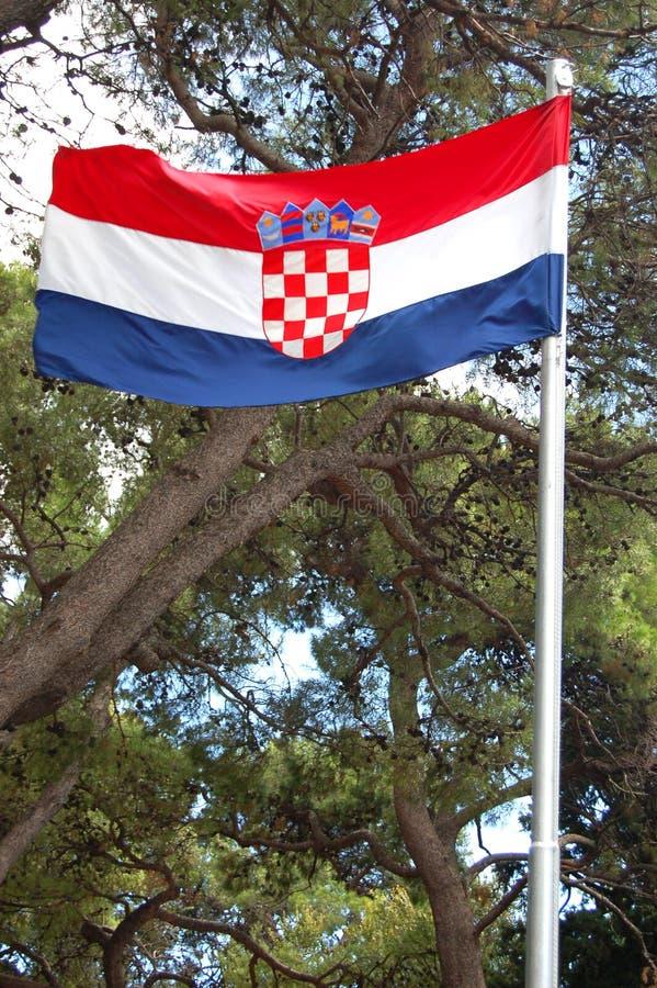 National flag of Croatia. Waving stock image