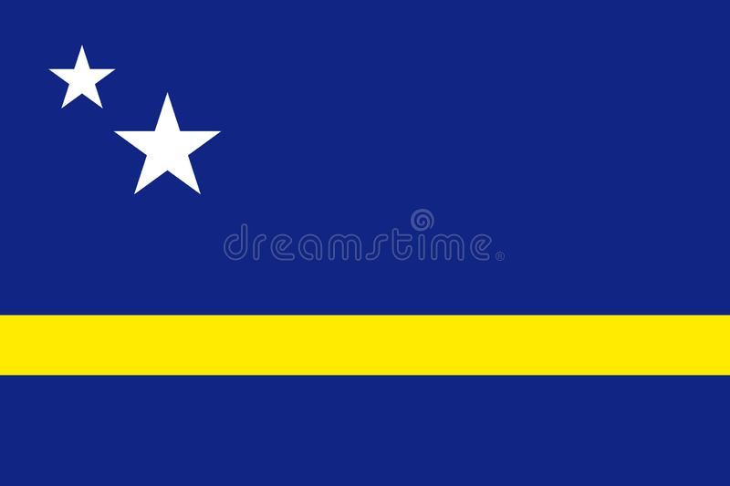 National flag of Curacao island in Caribbean sea. Patriotic country symbol with official colors. Flag of Caribbean dependent territory. Curacao flag vector stock illustration