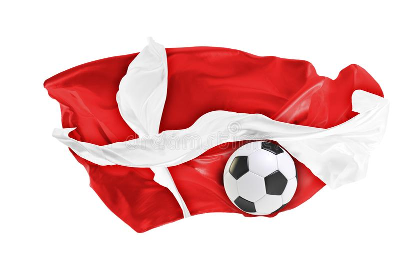 The national flag of Danmark. FIFA World Cup. Russia 2018. Flag made of fabric. Football and soccer concept. Fans concept. Soccer ball with fabric. Isolated on royalty free stock photo