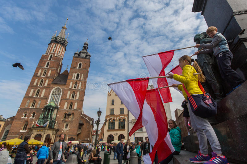 National Flag Day of the Republic of Poland (by the Act of 20 Feb 2004) celebrated between the holidays. KRAKOW, POLAND - MAY 2, 2015: National Flag Day of the royalty free stock photo