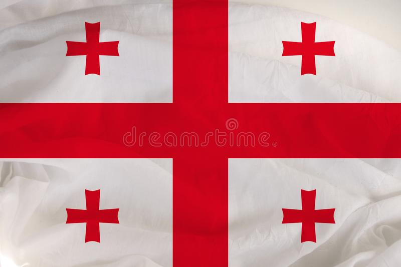 National flag of Georgia, a symbol of tourism, immigration, politic royalty free stock images