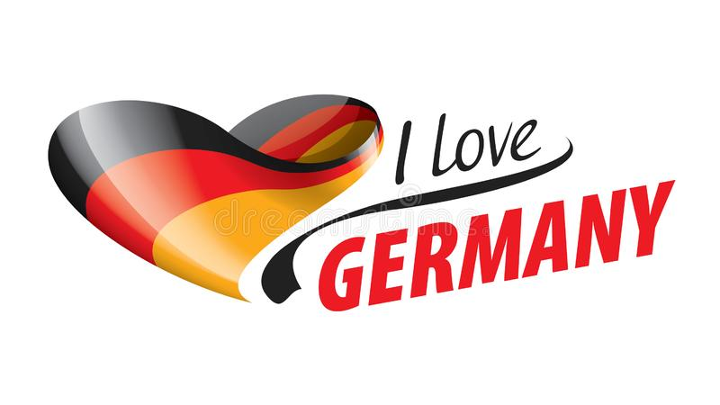 The national flag of the Germany and the inscription I love Germany. Vector illustration.  vector illustration