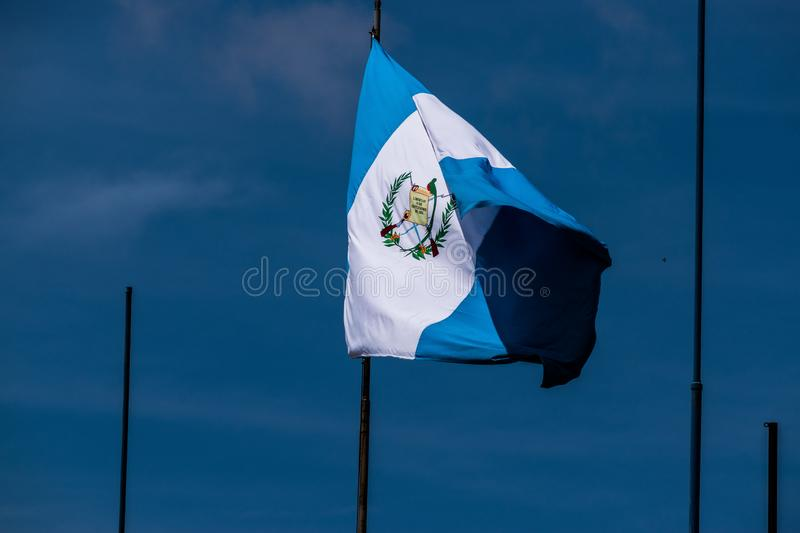 National flag of Guatemala. Blue and white is the flag of Guatemala that flies in the sieves of that beautiful country stock photography