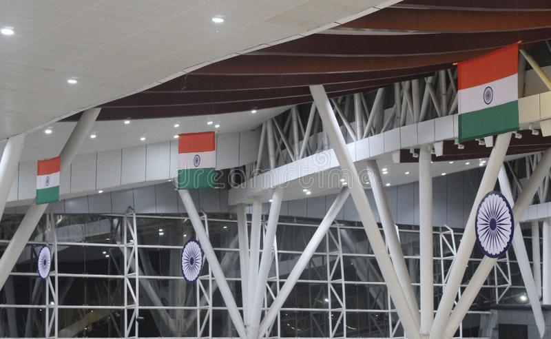 National flag of india decoration. Indian national flag , decorated in raipur airport, raipur, cg., India dated 25/08/19 stock photography