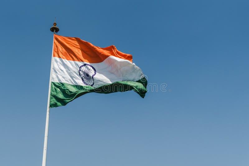 National Flag of India. Indian National Flag waving at New Delhi royalty free stock images